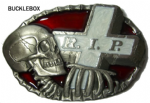 RIP Rest in Peace Skull Skeleton and Grave Stone Belt Buckle with display stand. Code BD2